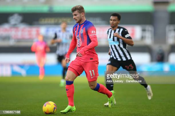 Timo Werner of Chelsea runs at the Newcastle United defence during the Premier League match between Newcastle United and Chelsea at St James Park on...