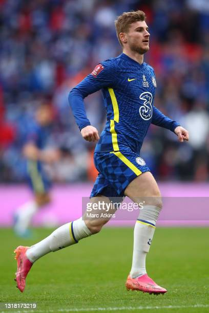 Timo Werner of Chelsea runs on during The Emirates FA Cup Final match between Chelsea and Leicester City at Wembley Stadium on May 15, 2021 in...