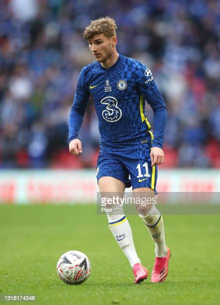 Timo Werner of Chelsea runs with the ball during The Emirates FA Cup Final match between Chelsea and Leicester City at Wembley Stadium on May 15,...
