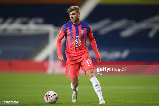 Timo Werner of Chelsea runs with the ball during the Premier League match between West Bromwich Albion and Chelsea at The Hawthorns on September 26...