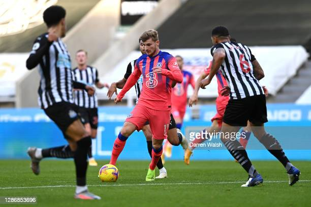 Timo Werner of Chelsea runs with the ball during the Premier League match between Newcastle United and Chelsea at St James Park on November 21 2020...