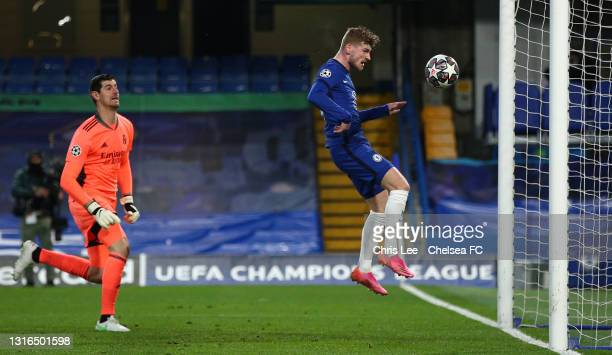 Timo Werner of Chelsea scores his team's first goal during the UEFA Champions League Semi Final Second Leg match between Chelsea and Real Madrid at...