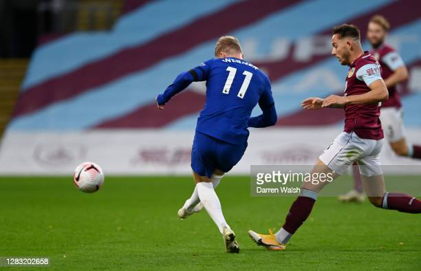 Timo Werner of Chelsea scores his team's third goal during the Premier League match between Burnley and Chelsea at Turf Moor on October 31, 2020 in...