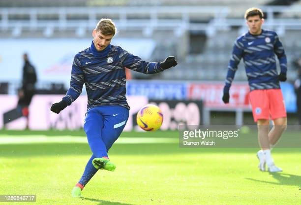 Timo Werner of Chelsea shoots as he warms up prior to the Premier League match between Newcastle United and Chelsea at St James Park on November 21...
