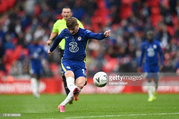 Timo Werner of Chelsea shoots during The Emirates FA Cup Final match between Chelsea and Leicester City at Wembley Stadium on May 15, 2021 in London,...
