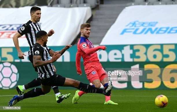 Timo Werner of Chelsea shoots during the Premier League match between Newcastle United and Chelsea at St James Park on November 21 2020 in Newcastle...