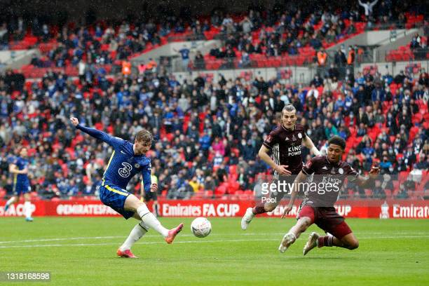 Timo Werner of Chelsea shoots whilst under pressure from Wesley Fofana of Leicester City during The Emirates FA Cup Final match between Chelsea and...