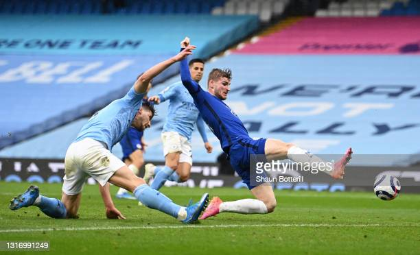 Timo Werner of Chelsea stretches for the ball during the Premier League match between Manchester City and Chelsea at Etihad Stadium on May 08, 2021...