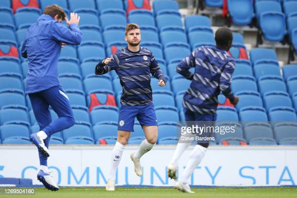 Timo Werner of Chelsea warms up ahead of the pre-season friendly between Brighton & Hove Albion and Chelsea at Amex Stadium on August 29, 2020 in...