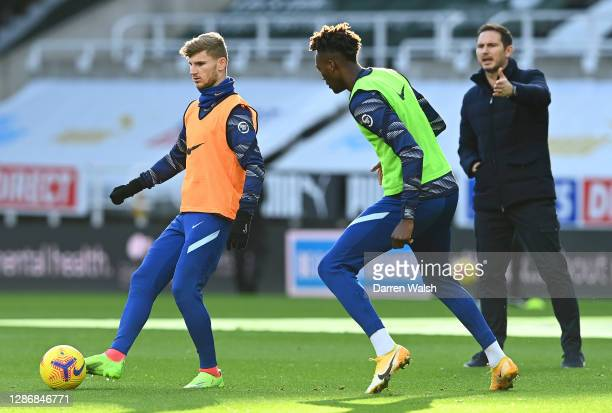 Timo Werner of Chelsea warms up prior to the Premier League match between Newcastle United and Chelsea at St James Park on November 21 2020 in...