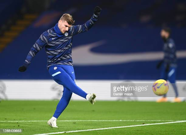 Timo Werner of Chelsea warms up prior to the Premier League match between Chelsea and Tottenham Hotspur at Stamford Bridge on November 29 2020 in...