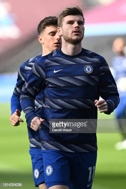 Timo Werner of Chelsea warms up prior to the Premier League match between West Ham United and Chelsea at London Stadium on April 24, 2021 in London,...