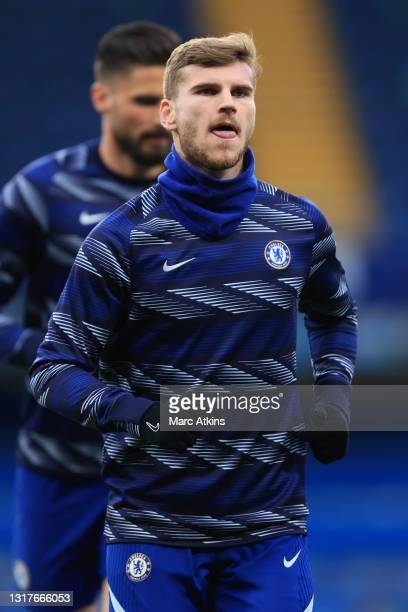 Timo Werner of Chelsea warms up prior to the Premier League match between Chelsea and Arsenal at Stamford Bridge on May 12, 2021 in London, England....