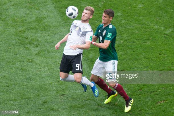 Timo Werner of Germany and Hector Moreno of Mexico during the Russia 2018 World Cup Group F football match between Germany and Mexico at the Luzhniki...