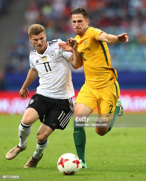 Timo Werner of Germany and Milos Degenek of Australia battle for possession during the FIFA Confederations Cup Russia 2017 Group B match between...