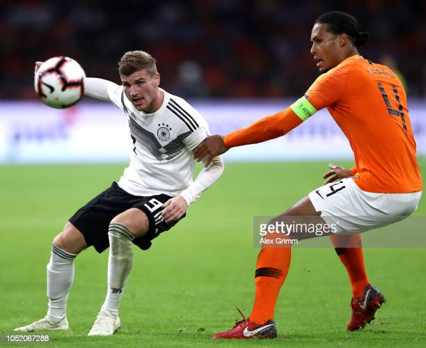 Timo Werner of Germany and Virgil Van Dijk of the Netherlands in action during the UEFA Nations League A group one match between Netherlands and...