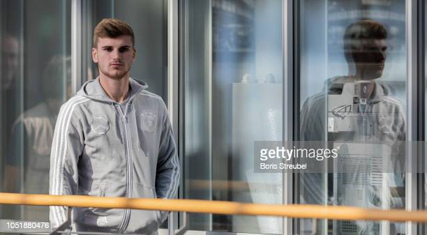 Timo Werner of Germany arrives for a press conference of the German national team at MercedesBenz am Salzufer on October 11 2018 in Berlin Germany