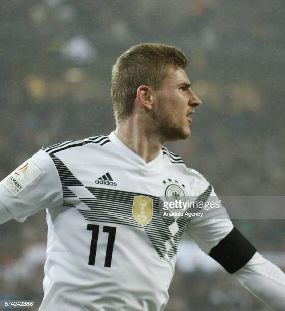 Timo Werner of Germany celebrates after scoring a goal during the international friendly soccer match between Germany and France at RheinEnergie...