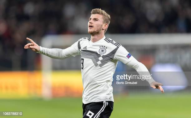 Timo Werner of Germany celebrates after scoring his team's first goal during the UEFA Nations League A group one match between Germany and...