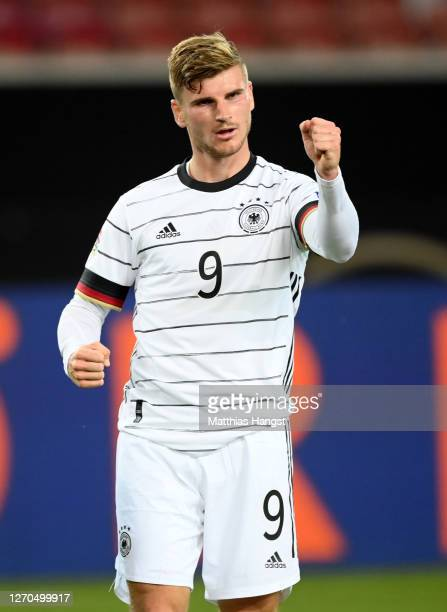 Timo Werner of Germany celebrates after scoring his team's first goal during the UEFA Nations League group stage match between Germany and Spain at...