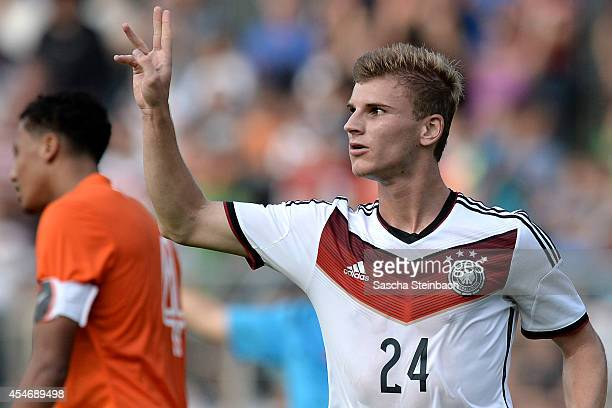 Timo Werner of Germany celebrates after scoring his team's first goal during the international friendly match between U19 Germany and U19 Netherlands...