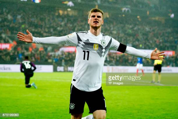 Timo Werner of Germany celebrates after scoring his team`s first goal during the International friendly match between Germany and France at...