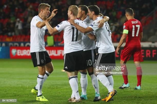 Timo Werner of Germany celebrates his team's first goal with team mates during the FIFA World Cup Russia 2018 Group C Qualifier between Czech...