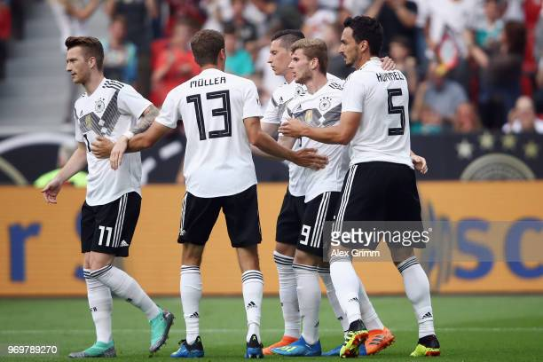 Timo Werner of Germany celebrates his team's first goal with team mates during the international friendly match between Germany and Saudi Arabia...
