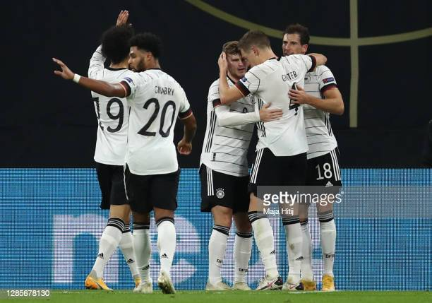 Timo Werner of Germany celebrates his team's second goal with teammates during the UEFA Nations League group stage match between Germany and Ukraine...