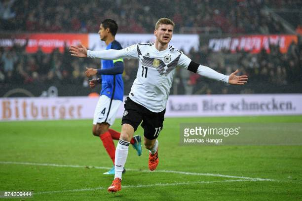 Timo Werner of Germany celebrates scoring his sides first goal during the international friendly match between Germany and France at...