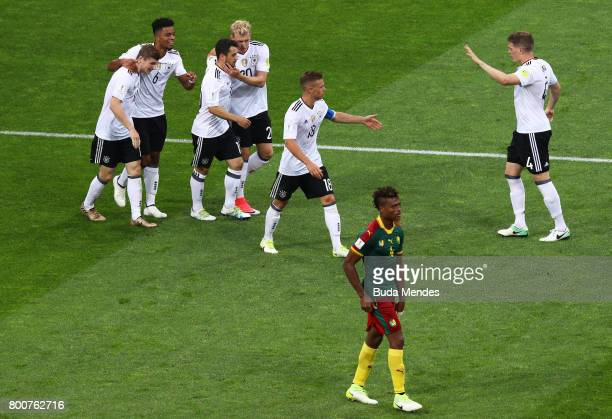 Timo Werner of Germany celebrates scoring his sides third goal with his Germany team mates during the FIFA Confederations Cup Russia 2017 Group B...