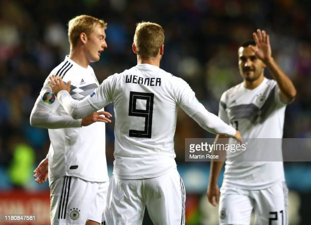 Timo Werner of Germany celebrates scoring his team's third goal during the UEFA Euro 2020 qualifier between Estonia and Germany on October 13 2019 in...