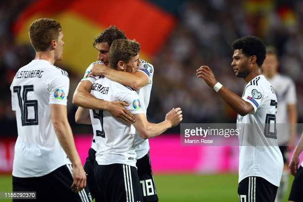 Timo Werner of Germany celebrates with his team after scoring their 7th goal during the UEFA Euro 2020 Qualifier match between Germany and Estonia at...