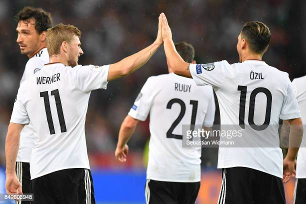 Timo Werner of Germany celebrates with Mesut Oezil of Germany and other players after the scored to make it 40 during the FIFA 2018 World Cup...