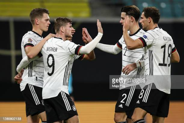 Timo Werner of Germany celebrates with teammates after scoring his team's third goal during the UEFA Nations League group stage match between Germany...