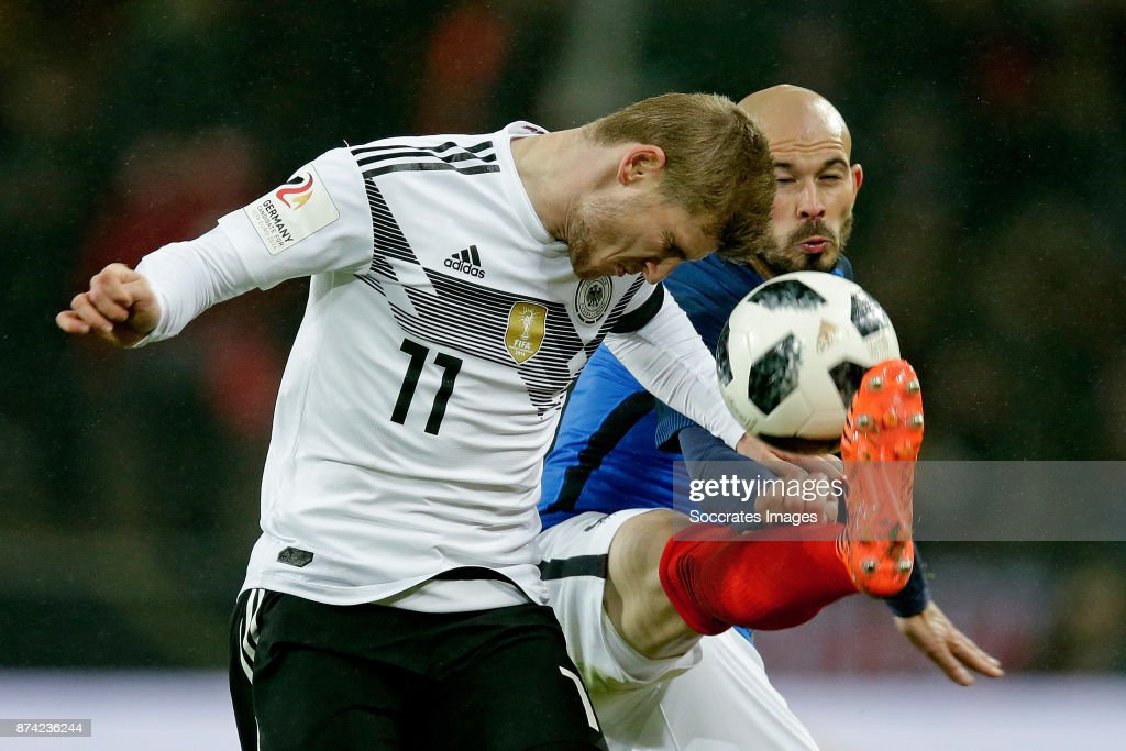 Timo Werner of Germany Christophe Jallet of France during the International Friendly match between Germany v France at the RheinEnergie Stadium on November 14, 2017 in Koln Germany