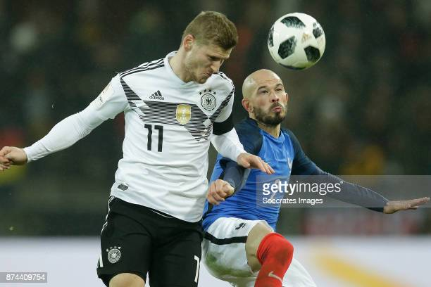 Timo Werner of Germany Christophe Jallet of France during the International Friendly match between Germany v France at the RheinEnergie Stadium on...