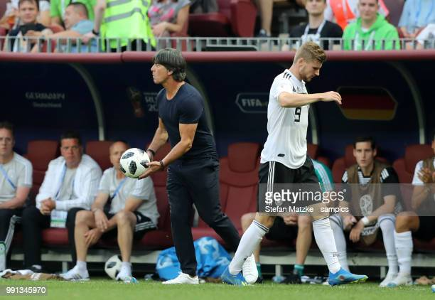 Timo Werner of Germany Coach Joachim Loew of Germany during the 2018 FIFA World Cup Russia group F match between Germany and Mexico at Luzhniki...
