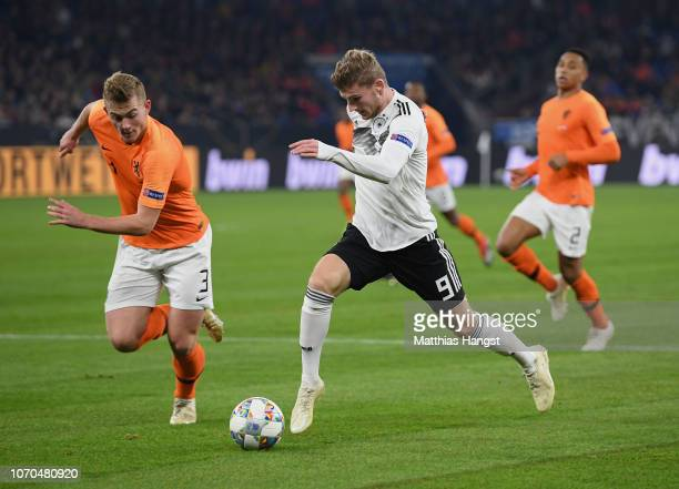 Timo Werner of Germany controls the ball against Matthijs de Ligt of The Netherlands during the UEFA Nations League A group one match between Germany...