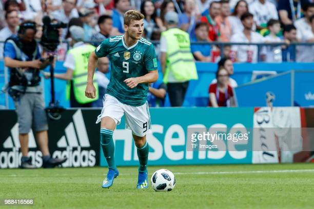Timo Werner of Germany controls the ball during the 2018 FIFA World Cup Russia group F match between Korea Republic and Germany at Kazan Arena on...