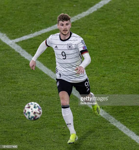 Timo Werner of Germany controls the ball during the FIFA World Cup 2022 Qatar qualifying match between Germany and North Macedonia on March 31, 2021...