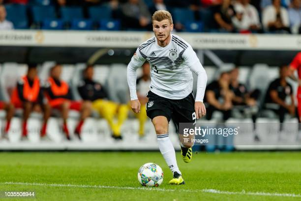 Timo Werner of Germany controls the ball during the International Friendly match between Germany and Peru on September 9 2018 in Sinsheim Germany