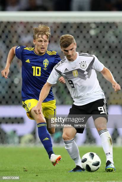 Timo Werner of Germany Emil Forsberg of Sweden during the 2018 FIFA World Cup Russia group F match between Germany and Sweden at Fisht Stadium on...