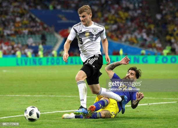 Timo Werner of Germany gets fouled by Jimmmy Durmaz of Sweden ahead od Germany's second goal during the 2018 FIFA World Cup Russia group F match...