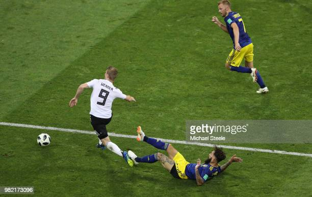 Timo Werner of Germany gets fouled by Jimmmy Durmaz of Sweden ahead of Germany's second goal during the 2018 FIFA World Cup Russia group F match...