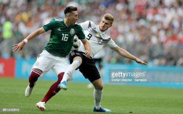 Timo Werner of Germany Hector Herrera of Mexico during the 2018 FIFA World Cup Russia group F match between Germany and Mexico at Luzhniki Stadium on...