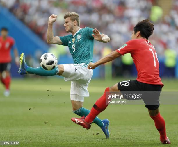 Timo Werner of Germany in action during a 20 loss to South Korea in World Cup Group F in Kazan Russia on June 27 2018 ==Kyodo