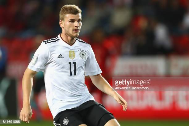 Timo Werner of Germany looks on during the FIFA World Cup Russia 2018 Group C Qualifier between Czech Republic and Germany at Eden Arena on September...