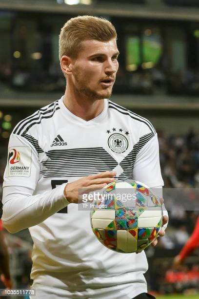 Timo Werner of Germany looks on during the International Friendly match between Germany and Peru on September 9, 2018 in Sinsheim, Germany.