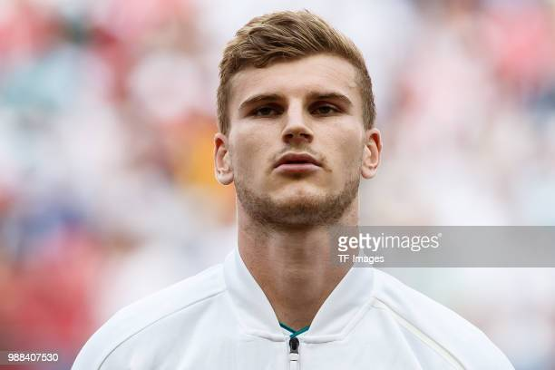 Timo Werner of Germany looks on prior to the 2018 FIFA World Cup Russia group F match between Korea Republic and Germany at Kazan Arena on June 27...